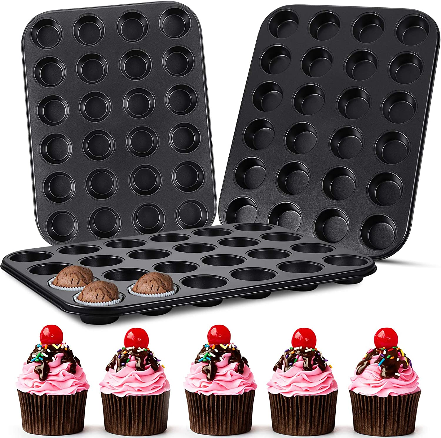Albuquerque Mall 3 Pieces 24 Cups Mini Muffin Ranking TOP5 Pans Carbon Cupcake Steel Tin Trays