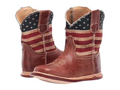 Roper Kids Cowbaby American Flag (Infant/Toddler) (Brown Vamp/Stars & Stripes Printed Shaft) Kids Shoes