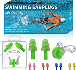 Royee 3 Pairs Nose Clip Ear Plug Set with Plastic Box Silicone Waterproof Soft Comfortable Reusable Nose Ear Protector for Swimming Learner Children Adult Kids Training