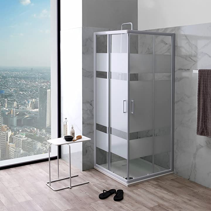 Box doccia quadrato 80x80 vetro con serigrafia e profili bianchi | venere B07B5WMNQ6
