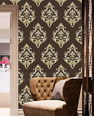 Yifu Life F20208 Luxury Damask Embossed Wallpaper Rolls Brown Golden Wall Paper Home Bedroom Living Room Hotels Wall Decoration 20 8 X 32 8ft Amazon Com