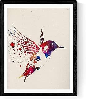 Nacnic Hummingbird Poster. Print of a Hummingbird Watercolor Style Size 8''x11''