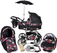 Baby Sportive Twing - Sistema de viaje 3 en 1, silla de paseo, carrito con capazo y silla de coche, RUEDAS GIRATORIAS, parasol y accesorios, color negro, flores rojas, blancas, grises