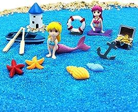 EMiEN Summer Beach Theme Mermaid Figurines Miniature Fairy Garden Ornament Kits for DIY Dollhouse Decoration, Micro Ocean Scene Fairy Garden Accessories, Blue Sand, Castle, Cute Mermaid,Treasure,Boat