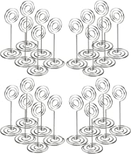 CERIZONA 3.4-inch Place Card Holders - Wire Picture Stand, Use at Weddings, Dinner Parties, Baby Showers, Birthdays  Office Use, Memo, Message, Photo, Name Cards, Menu – 24 Pack (Silver_Circle, 24)