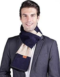 YLIMW Mens Winter Scarf Cashmere Feel Plaid Striped Scarves for Men