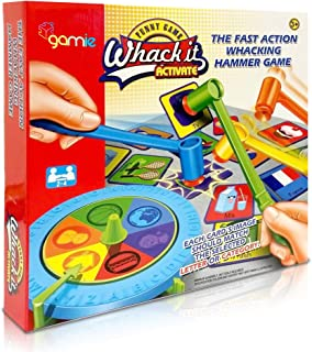 Gamie Fast Action Whacking Hammer Game for Kids - Fun Educational Learning Toy - Whacking Card Game for Boys and Girls - Teaches Countries, Motor Skills, Animals, Professions, Foods and More