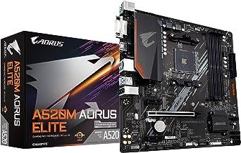 Gigabyte A520M AORUS Elite (AMD Ryzen AM4/MicroATX/5+3 Phases Digital PWM/Gaming GbE LAN/NVMe PCIe 3.0 x4 M.2/2 Display In...