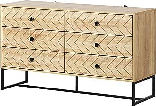HOMCOM Armario Auxiliar Cajonera Retro Cómoda Muebles con 6 Cajones Deslizables para Salón Madera 120x39.5x71cm