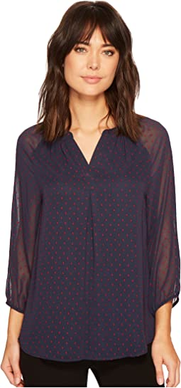 Ivanka Trump - Dobby Dot Georgette Long Sleeve Peasant Blouse