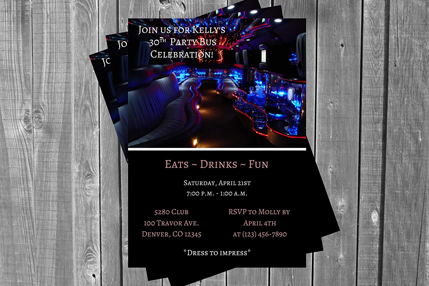 Adult Birthday Party Large-scale Limited time sale sale Invitation Bu Limo Bus Bachelor