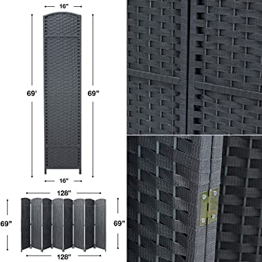Sorbus Room Divider Folding Privacy Screen, 8 Panel 6ft. Tall Extra Wide Partition Foldable Panel Wall Divider, Double Hinged