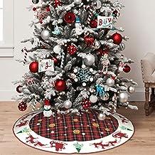 Christmas Tree Skirt 48 Inch Buffalo Plaid Tree Skirt Elk Xmas Tree Skirt with Snowflakes Large Christmas Decor Mats for X...