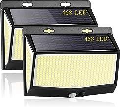 3 Modos Luz Solar Exterior, [2021 Más Brillante Modelo 468 LED Luces Solares 2-Paquete] Gran Ángulo 270 °Iluminación Foco ...