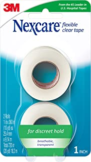 Nexcare Flexible Clear First Aid Tape, Hypoallergenic, 1-Inch X 10-Yards (Pack of 2)
