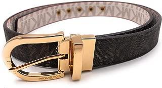 Michael Kors Women's Reversible Belt Monogram Chocolate Vanilla Faux Leather Gold-Tone Buckle (XL)
