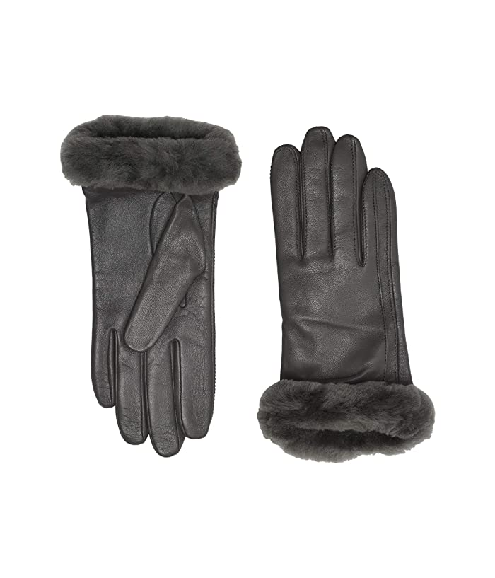 UGG  Classic Leather Shorty Tech Gloves (Charcoal) Extreme Cold Weather Gloves