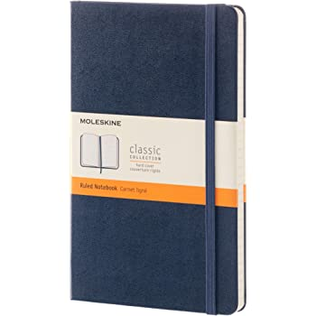"""Moleskine Classic Notebook, Hard Cover, Large (5"""" x 8.25"""") Ruled/Lined, Sapphire Blue, 240 Pages"""