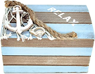 Nautical Rope and Anchor Oval Trinket Jewelry Box