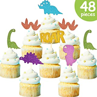 48 Pieces Dinosaur Cupcake Toppers Dinosaur Cake Toppers Picks for Kids Birthday Baby Shower Party Decorations, 6 Styles
