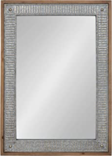 Kate and Laurel Deely Farmhouse Wood and Metal Wall Mirror, Rustic Brown