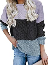 Kancystore Womens Casual Crew Neck Color Block Oversized Sweater Long Sleeve Knit Pullover Jumper Tops
