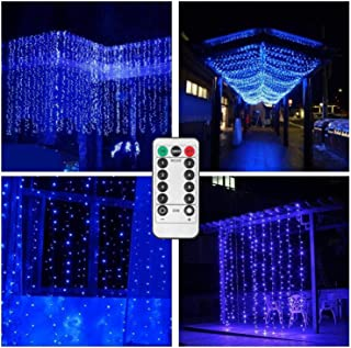 Backdrop Curtain String Lights Battery Operated,6.5ft x 6.5ft 200 LED Twinkle Starry Window Icicle Lights for Birthday Bash Bed Headboard Blinds Sheer Curtain Decor - Remote,Timer,8 Mode,Dimmable,Blue