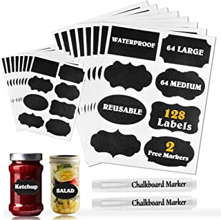 Waterproof Chalkboard Labels Stickers 128 Pack, Erasable & Removable Stickers with 2 Chalk Liquid Markers, Reusable Person...