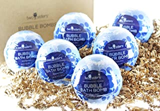 6 Ocean Mist Bubble Bath Bombs by Two Sisters Spa. 6 5oz Large 99% Natural Fizzies For Women, Teens and Kids. Moisturizes Dry Sensitive Skin. Releases Lush Color, Scent, and Bubbles.