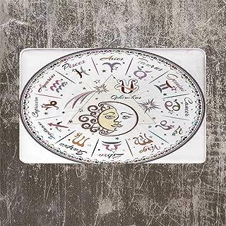 YOLIYANA Zodiac Decor Beautiful Door Mat,Western Chart with All Signs Aries Virgo Leo Taurus Libra Mystique Fate Calendar for Kitchen,17.7''W x 29.5''L