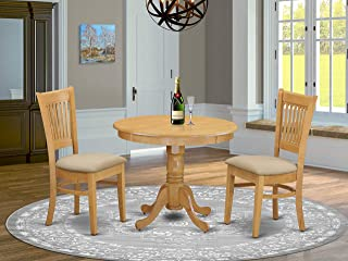 East West Furniture 3 Piece Kitchen Table and 2 Chairs Set