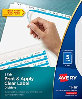 Avery 5-Tab Binder Dividers, Easy Print & Apply Clear Label Strip, Index Maker, White Tabs, 1 Set (11416)