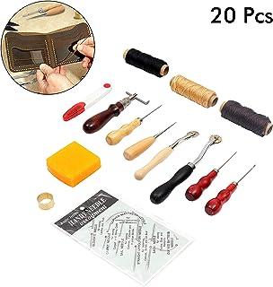 2 Pezzi//Set Leathercraft Carving Edge Slicker Tool Bruciatore di Legno Rotondo Fatto a Mano Fai da Te Delaman Leather Slicker Edge