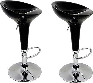 La Silla Española - Pack de Dos Taburetes Estilo Rex en PVC Color Negro, Regulable en Altura 44x40x87 cm, 2 Unidades