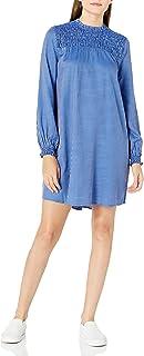 Goodthreads Women's Fluid Yarn-dye Twill Smocked Yoke Woven Swing Dress