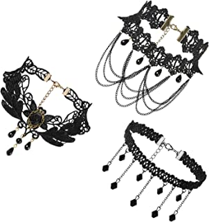 JewelryWe Jewelry 3 PCS Choker Collar Necklace Set Black Stretch Velvet Classic Gothic Tassels Tattoo Lace Choker Necklaces Chains for Ladies Girls
