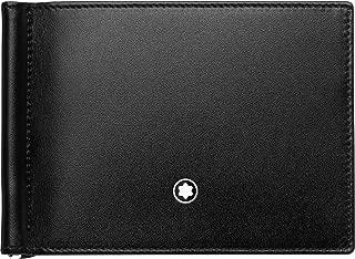 Montblanc 118295 Meisterstück Wallet 6 cc Leather 11 x 8.5 cm with Money Clip Black/Light Blue