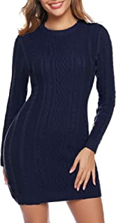 Aibrou Vestito Maglioni Donna Girocollo Maglione Lungo Eleganti Vestiti in Maglia Vintage Autunno Invernali Mini Abito