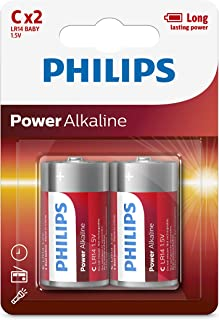 Philips 1.5 Volt Alkaline C Battery 2-Pieces Pack, (18198)