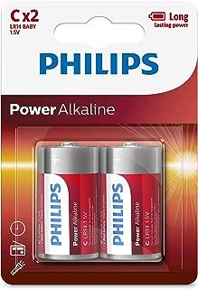 2PK Philips C Alkaline Single Use Battery 1.5V LR14 Long Lasting Batteries