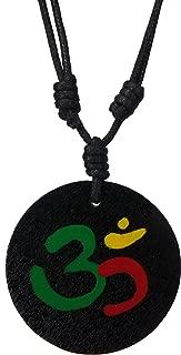 Meditation Symbol Om Aum Wooden Necklace Yoga Aum Om Ohm Yogi Black Wood Pendant Necklace OHM Pendant