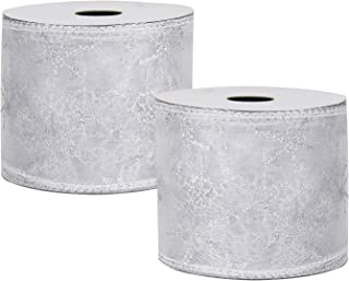VATIN 2-1/2 inches Wide Snowflake Wired Sheer Glitter Ribbon White Silver Swirl Wired Organza Ribbon Roll