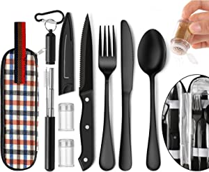 Portable Travel Utensils Set, Travel Camping Cutlery Set, Reusable Stainless Steel Flatware Set with Case for Office School Picnic (Black)