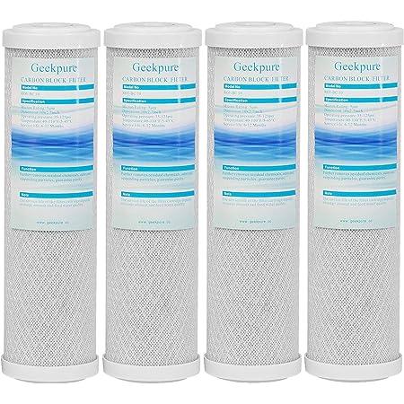 """Geekpure cartouche filtrante de remplacement pour bloc de charbon pour système de filtration d'eau RO et sous évier -2,5 """"x 10"""" - Lot de 4 - 5 microns"""