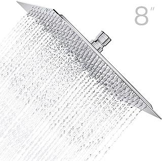 Derpras 8 Inch Square Rain Shower Head, 304 Stainless Steel, Ultra Thin High Pressure Bathroom Rainfall Showerhead (Brushed Nickel) (121Jets)