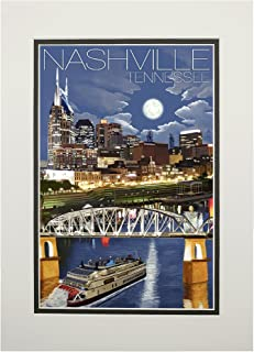 Nashville, Tennesseee - Nashville at Night (11x14 Double-Matted Art Print, Wall Decor Ready to Frame)