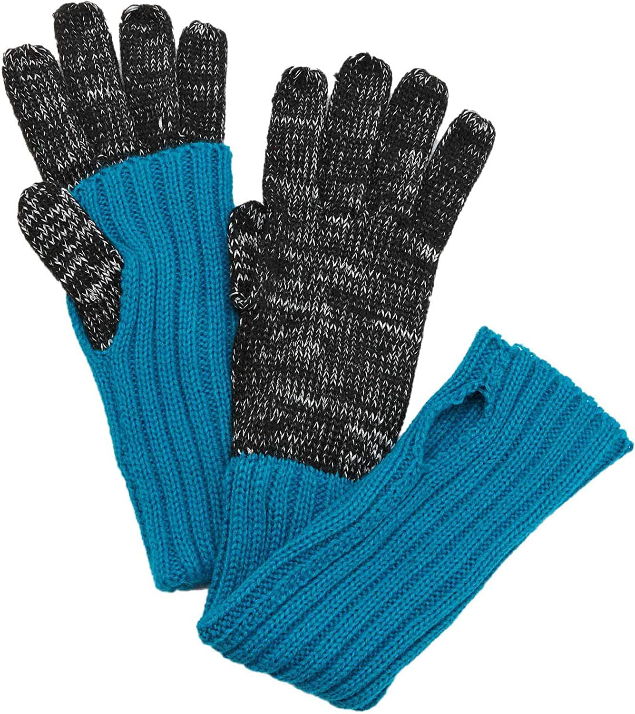 Grandoe Women's Knit Mock-Layer Tech Gloves - Black/Turquoise - L/XL