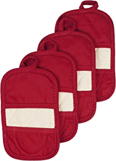 Ritz Royale Collection 100% Cotton Terry Cloth Mitz, Dual-Function Pot Holder/Oven Mitt Set, 4-Pack, Paprika Red