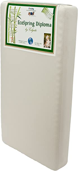 Colgate EcoSpring Diploma Organic Cotton Innerspring Crib Mattress 51 6 L X 27 2 W X 6 H Hypoallergenic Waterproof Raylon Cover Made In The USA