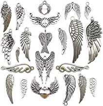 iloveDIYbeads 42pcs Craft Supplies Antique Silver Feather Angel Wings Charms Pendants for Crafting, Jewelry Findings Making Accessory for DIY Necklace Bracelet M185